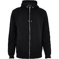 Black contrast sleeve high neck hoodie
