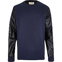 Navy leather-look sleeve sweatshirt