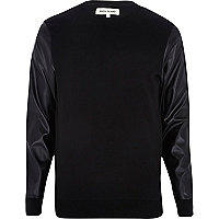 Black leather-look sleeve sweatshirt