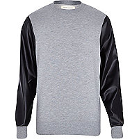 Grey leather-look sleeve sweatshirt