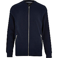 Navy zip through bomber jacket