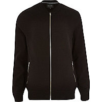 Black basic zip through bomber jacket