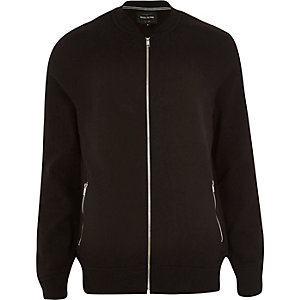 Black basic zip through bomber jacket
