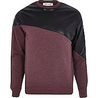 Dark red leather-look panel sweatshirt