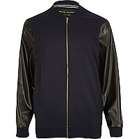 Navy leather-look sleeve bomber jacket