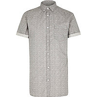Grey micro print short sleeve shirt