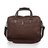 Brown textured structured workbag