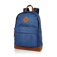 Blue textured canvas backpack