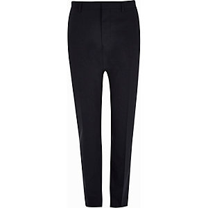 Navy wool-blend skinny suit trousers