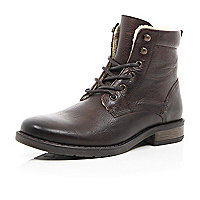 Brown leather warm lined boots