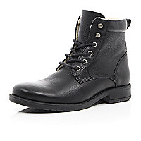 Black leather warm lined boots