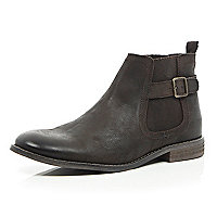 Brown leather buckle trim Chelsea boots