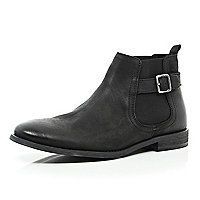 Black leather buckle trim Chelsea boots