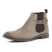 Light brown leather buckle trim Chelsea boots