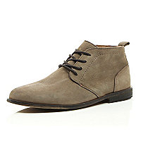 Stone leather desert boots
