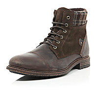 Brown leather plaid ankle military boots