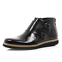 Black dual strap boots