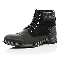 Black leather plaid ankle military boots