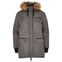 Grey faux fur trimmed parka jacket