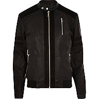 Black panelled leather-look bomber jacket