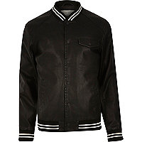 Black casual stripe trim varsity jacket