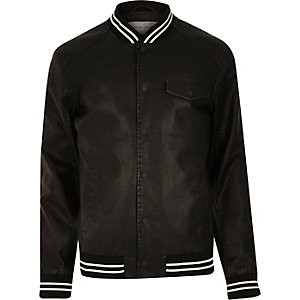 Black casual stripe trim varsity jacket