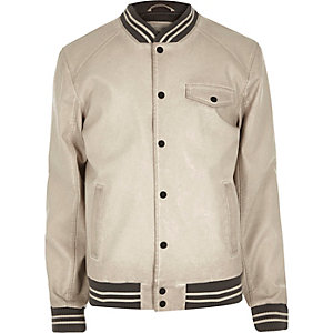 Ecru varsity bomber jacket