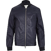 Blue leather-look bomber jacket