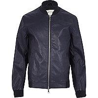 Blue leather-look bomber jacket