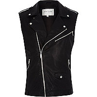 Black leather-look sleeveless biker jacket