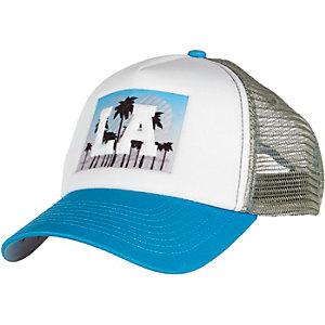 White LA mesh trucker cap