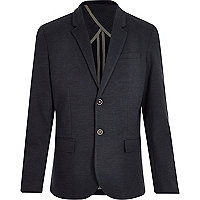 Navy denim ponte blazer