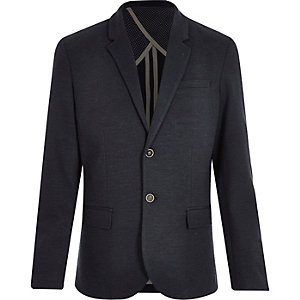 Navy denim jersey blazer