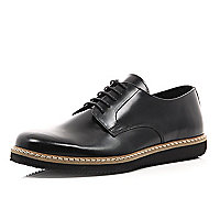 Black leather chunky sole formal shoes