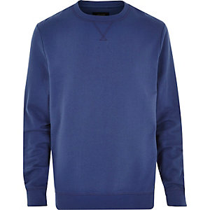 Blue basic plain long sleeve sweatshirt