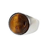 Silver tone Lusardi tiger eye ring