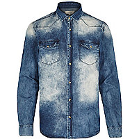 Blue acid wash denim shirt