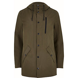 Khaki green hooded mid length jacket