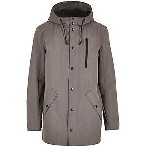 Grey hooded mid length jacket