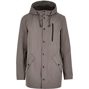 Grey hooded mid length jacket