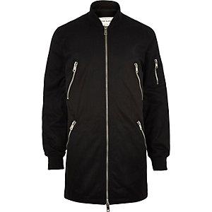 Black longer length zip bomber jacket