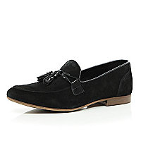 Black suede tassle trim loafers