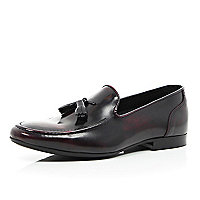 Dark red leather high shine tassel loafers