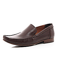 Brown leather square toe loafers