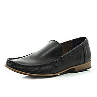 Black leather square toe loafers