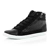 Black panel zip hi-top trainers