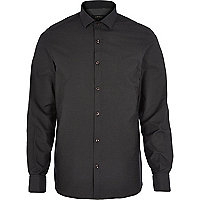 Black dobby dot long sleeve shirt
