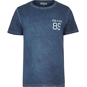 Navy washed 85 symbol print t-shirt