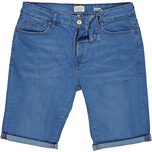 Mid wash denim rolled up shorts
