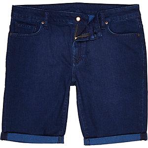 Dark wash denim turn up shorts